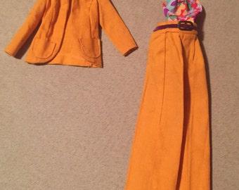 Vintage Barbie Best Buy Outfit / Orange Pantsuit / Jacket