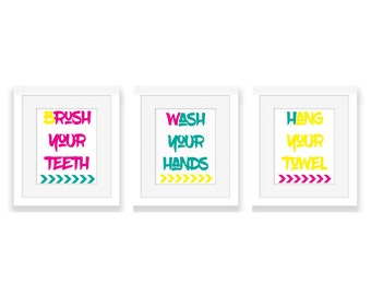 Bathroom Wall Art | Bathroom Signs | Brush Your Teeth | Wash Your Hands | Hang Your Towel | Instant Download