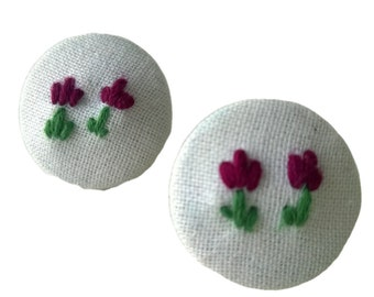Red embroidered tulips fabric button earrings
