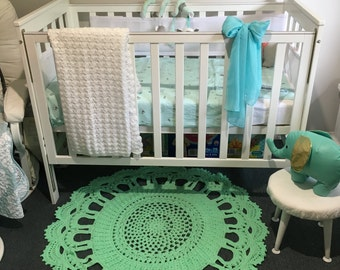 Handmade mint crochet rug