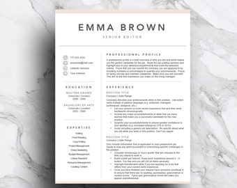 Creative Resume Template For Word U0026 Pages (includes 1 And 2 Page Resume,  Cover  Resume For Artist