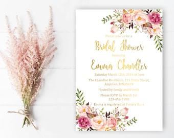 Gold Boho Floral Bridal Shower Invitation, Printable Floral Boho Bridal Shower Invite, Gold Foil Boho Bridal Shower Invite, Download, 110-G