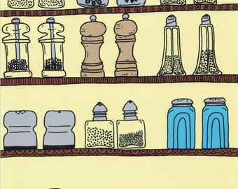 Salt and Pepper Art, Salt and Pepper Print, Hand Drawn Illustration, Food Illustration, Kitchen Decor, Home Decor, Art for Foodie, Art Print