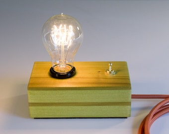 Retro Vintage Edison Style Poplar Wood Accent, Table, or Desk Lamp, Green Finish