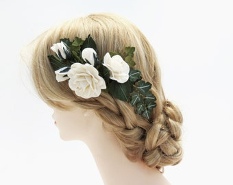 White Paper Roses Floral Hair Comb - Wedding hair flowers -  Hair Flowers - Bridal Hair Piece