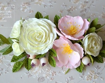 Wedding Hair clip Flower hair clip Rose Gift for her Ivory Wedding Rose Hair clip Hair Piece Pastel wedding Spring Boho wedding Valentines