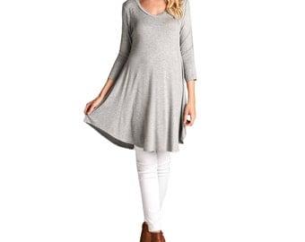 Fashionazzle Women's 3/4 Sleeve Round Neck Rayon Tunic Dress H. Grey