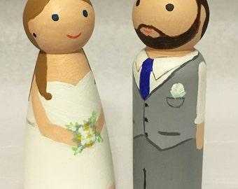 Custom wooden peg doll couple wedding cake topper