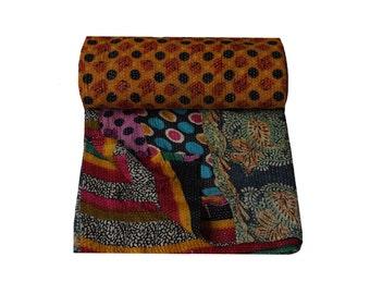 Reversible Patchwork Cotton Sari Throw Indian Hand Stitched Kantha Vintage Quilt