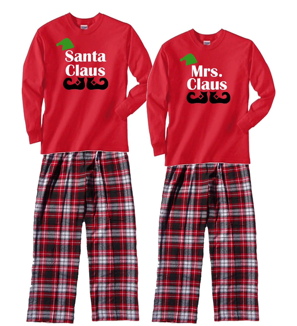 family christmas pajamas santa claus mrs claus. Black Bedroom Furniture Sets. Home Design Ideas