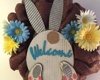 Welcome Bunny faux Brown Burlap Wreath