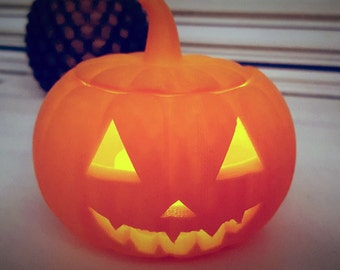 2 Mini 3D Printed Halloween Pumpkin with Free TeaLight