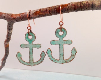 Nautical anchor, patina earrings