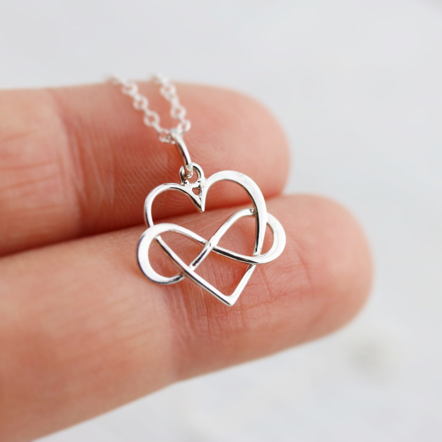 infinity heart necklace sterling silver inifinity heart. Black Bedroom Furniture Sets. Home Design Ideas