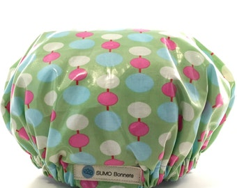 Green/ Pink/ White Dot XL Shower Bonnet