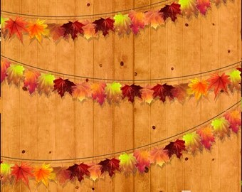 Autumn Garland Photography Backdrop (HWA-BB-016)