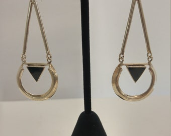 Sterling triangle dangle earrings w/ black onyx