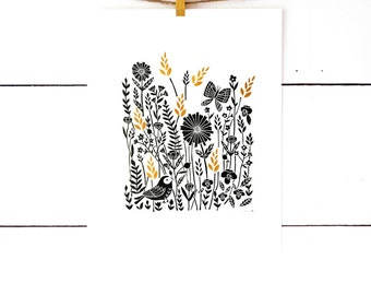 Linocut Print, Nature Print, Nature Art, Lino Print, Linoleum Print, Scandinavian Art, Black Art, Monochrome Nursery, Floral Print Field Art
