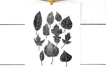 Leaf Print, Gift For Men, Linoleum Block Print, Nature Prints, Nature Art, Linocut Print, Lino Print, Botanical Poster, Botanical Print