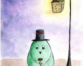 Green bird under lamp Watercolor Painting - 4x6 - Fantasy Romantic world
