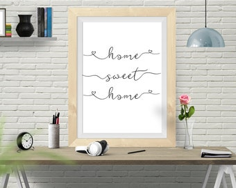 Home Sweet Home, Typography, Poster, Typography Poster, Home Poster, Art Print, watercolor poster, Home Wall Art, Wedding Gift, Inspiration