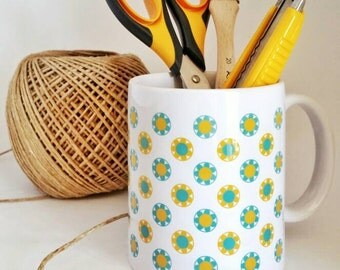 "Mug ""Flowers"" with blue and yellow flowers pattern"