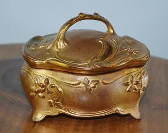 Jennings Bros Trinket Box, JB Signifies The Best, Ormolu Gold Finish, Art Nouveau, 1920's