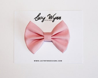 Primrose Pink Bow | Lucy Wynn Designs | Pink Bow, Primrose Bow, Rose Pink Bow, Girls Pink Bow, Rose Bow, Sailor Bow, Girls Bow, Kona Cotton