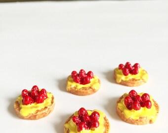 50 % Off Clearance Sale 5pcs Miniature Resin Strawberry Cream Pancakes - Strawberry Cream Pancake Cabochon - Kawaii Bakery (was 3.00)