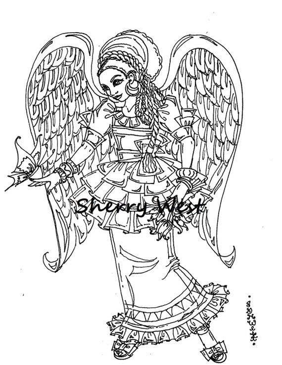 african art coloring pages - items similar to 1 page lovely african american angel