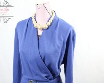 Vintage Blue Wrap Dress Size L