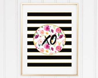 XO wall art print, XO printable art, XO print, xoxo, Kisses and hugs, Hug and kiss, floral, black stripes, Tea Time, Office, Trendy, Kate