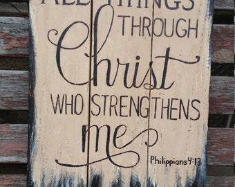 Bible verse Philippians 4:13 wooden sign