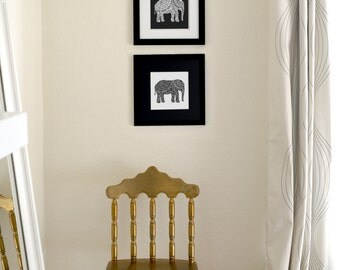 """Elephant Duo Ink Drawing Set of Two Limited Edition Prints, Signed, Numbered 8"""" x 8"""""""