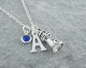 Lighthouse necklace, silver lighthouse pendant, light house, initial necklace, swarovski birthstone, personalized jewelry, nautical jewelry