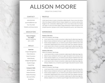 simple resume etsy