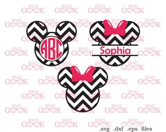 Chevron Mickey Ears SVG cut files, Minnie Ears svg cut files for use with Silhouette, Cricut and other Vinyl Cutters, digital cut file