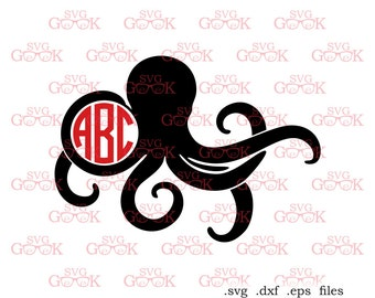 Octopus SVG cut files, Octopus Monogram Frame svg cut files for use with Silhouette, Cricut and other Vinyl Cutters, digital cut file