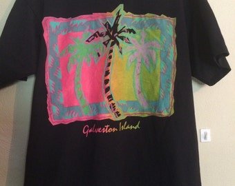 Vintage 90s Galveston Island Texas shirt screen stars best neon colors