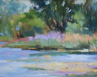 Original Oil Painting Canvas Frankie Johnson Landscape Spring Trees Water Unframed Small Masterpiece Daily Painter Outdoors Flowers River