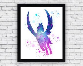 Pegasus Watercolor print, Pegasus Printable Wall Art, Pegasus wall decor, Pegasus poster