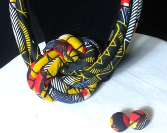 Red & Blue Knotted Necklace - African Jewelry - African Fabric Necklace - Ankara Necklace - Collier Africain - Africa Print Fabric-Tissu Wax