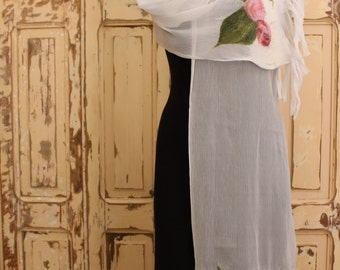 Vintage White Shawl with Roses