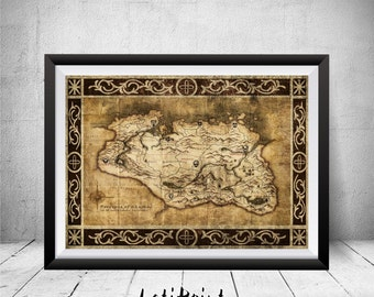 Skyrim Map, Skyrim Wall Art, Skyrim Map Print, Wall Art Decor, Elder Scrolls, Skyrim Art Print, Gaming Art, Printable Art, Skyrim Print, Art