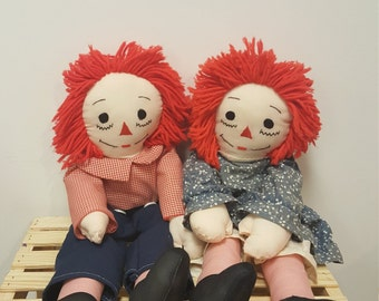 "Pair of Vintage 24"" Hand Made Collectible Raggedy Ann and Andy Dolls"