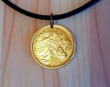 Lion Head Pendant Necklace, Lion coin, African jewelry, African animal coin, Ethiopia 5 Cents Lions Head Coin charm