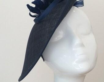 Headpiece - Fascinator - Wedding Hat - Goodwood - Ascot Hat - Winter Wedding - Racing - Hatinator - Navy - Mother of the Bride / Groom