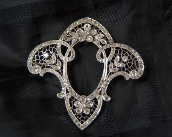 Art Nouveau 18 K Gold Platinum Diamonds Brooch old beautiful Art Nouveau brooch