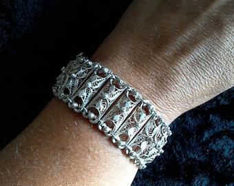SALE! Mid-Century, Silver Filigree Bracelet, Vintage Bracelet, Retro Silver Bracelet, Gifts for Her, Gift for Girlfriend, Gift for Wife