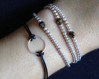 Sterling Silver Karma Bracelet-Dainty Circle bracelet-Dainty Karma Bracelet-Simple Layering Bracelet-black leather-sterling silver bracelet